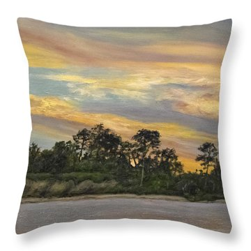 Throw Pillow featuring the painting Urbanna Sunset by Sandra Nardone