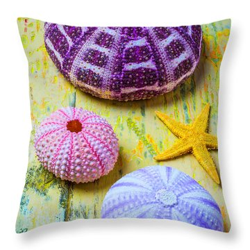 Purple Sea Stars Throw Pillows