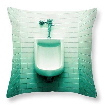 Urinal In Men's Restroom. Throw Pillow by John Greim