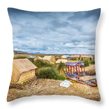 Throw Pillow featuring the photograph Uros Life by Gary Gillette