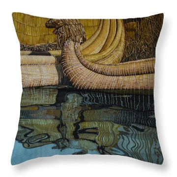 Uros Straw Boats And Island Throw Pillow