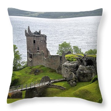 Urquhart Castle On Loch Ness Throw Pillow