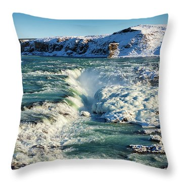 Throw Pillow featuring the photograph Urridafoss Waterfall Iceland by Matthias Hauser