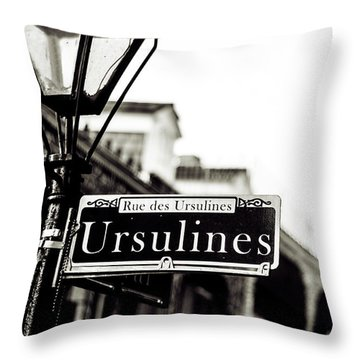 Ursulines In Monotone, New Orleans, Louisiana Throw Pillow