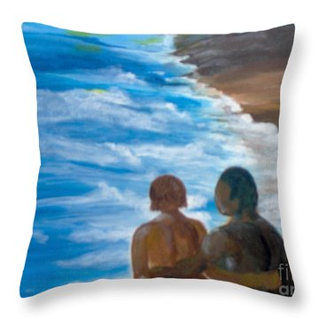 Throw Pillow featuring the painting Us Against The World by Saundra Johnson