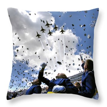 Throw Pillow featuring the photograph U.s. Air Force Academy Graduates Throw by Stocktrek Images