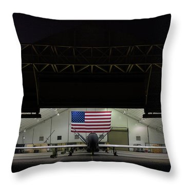 Us Air Force Eq 4 Global Hawk Assigned To The 380th Air Expeditionary Wing Await Routine Maintenance Throw Pillow