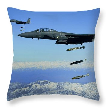 U.s. Air Force F-15e Strike Eagle Throw Pillow by Stocktrek Images