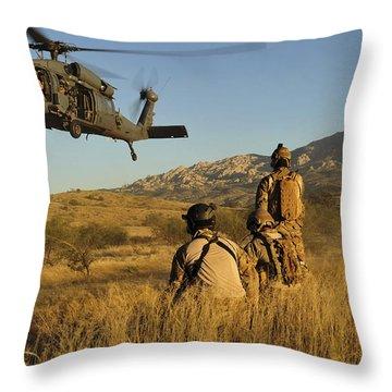 U.s. Air Force Pararescuemen Signal Throw Pillow by Stocktrek Images