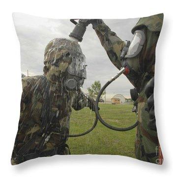 U.s. Air Force Soldier Decontaminates Throw Pillow by Stocktrek Images