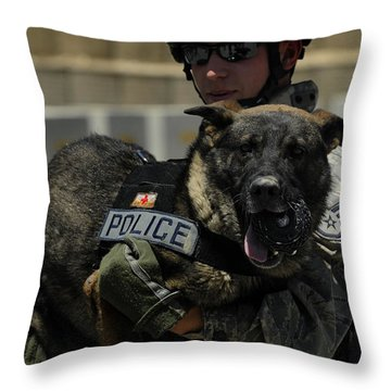 U.s. Air Force Soldier Giving Throw Pillow by Stocktrek Images
