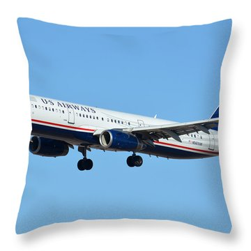 Us Airways Airbus A321-231 N567uw Throw Pillow by Brian Lockett