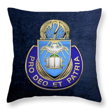 U. S. Army Chaplain Corps - Regimental Insignia Over Blue Velvet Throw Pillow