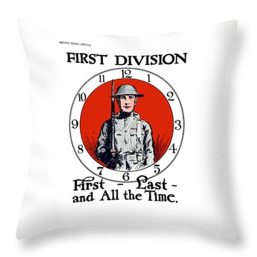 Throw Pillow featuring the painting Us Army First Division - Ww1 by War Is Hell Store