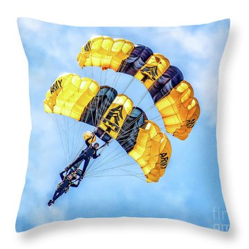 Throw Pillow featuring the photograph U.s. Army Golden Knights by Nick Zelinsky