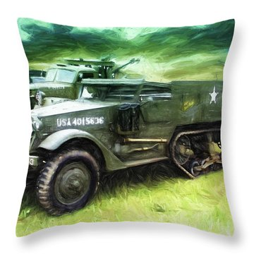 U.s. Army Halftrack Throw Pillow by Michael Cleere
