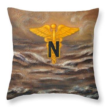U.s. Army Nurse Corps Desert Storm Throw Pillow by Marlyn Boyd