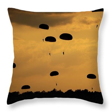 U.s. Army Soldiers Parachute Throw Pillow by Stocktrek Images