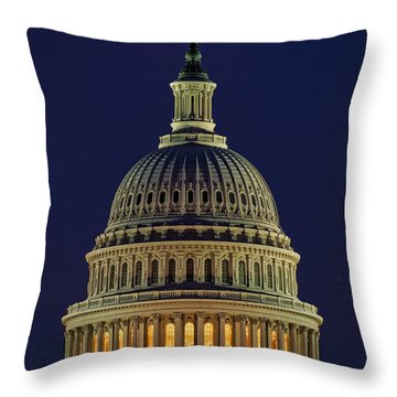 U.s. Capitol At Night Throw Pillow by Nick Zelinsky