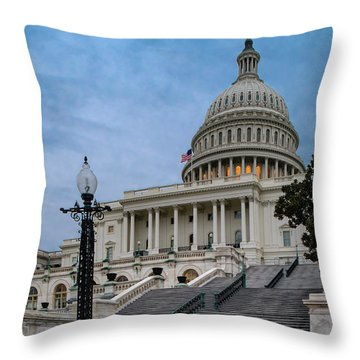 Throw Pillow featuring the photograph Us Capitol Building Twilight by Susan Candelario