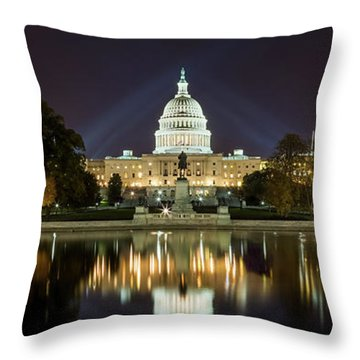 Us Capitol Night Panorama Throw Pillow