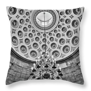 Throw Pillow featuring the photograph Us Capitol Rotunda Washington Dc Bw by Susan Candelario