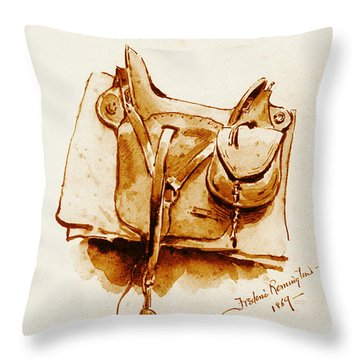 Us Cavalry Saddle 1869 Throw Pillow by Padre Art
