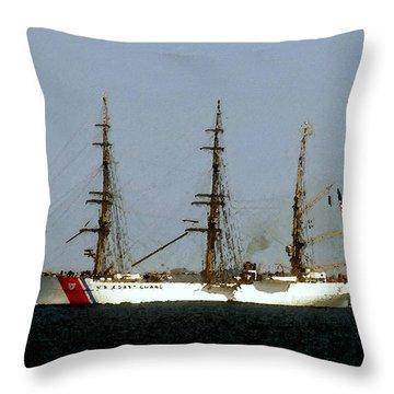 U.s. Coast Guard Eagle Throw Pillow by David Lee Thompson