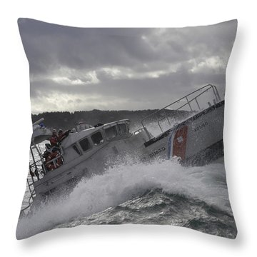Throw Pillow featuring the photograph U.s. Coast Guard Motor Life Boat Brakes by Stocktrek Images