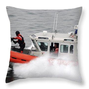 U.s. Coast Guardsmen Aboard A Security Throw Pillow