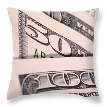 U.s. Currency Throw Pillow