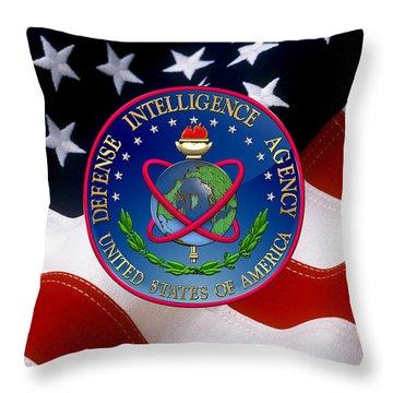 U. S. Defense Intelligence Agency - D I A Emblem Over Flag Throw Pillow
