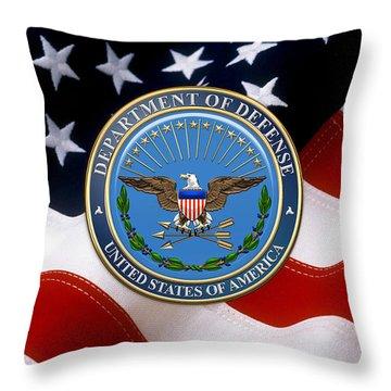 U. S. Department Of Defense - D O D Emblem Over American Flag Throw Pillow