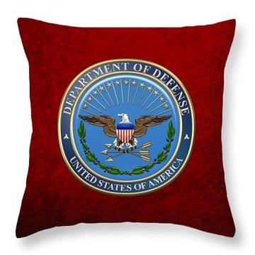 U. S. Department Of Defense - D O D Emblem Over Red Velvet Throw Pillow
