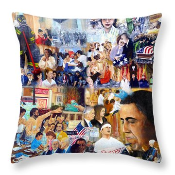 Us History The First Ten Years 21st Century Throw Pillow by Leonardo Ruggieri