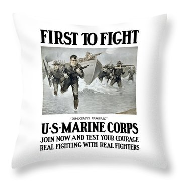 Us Marine Corps - First To Fight  Throw Pillow