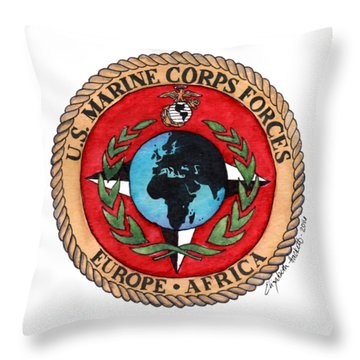 Throw Pillow featuring the painting U.s. Marine Corps Forces Europe - Africa by Betsy Hackett