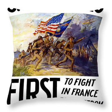 Us Marines - First To Fight In France Throw Pillow