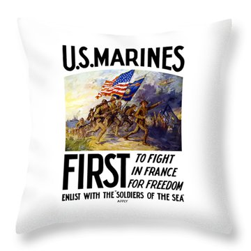Us Marines - First To Fight In France Throw Pillow by War Is Hell Store