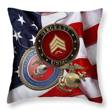 U. S. Marines Sergeant - U S M C Sgt Rank Insignia Over American Flag Throw Pillow