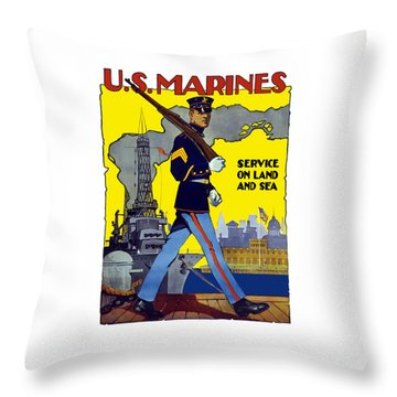 U.s. Marines - Service On Land And Sea Throw Pillow