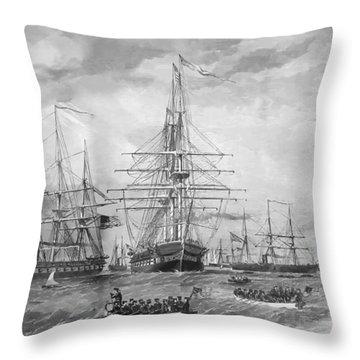 U.s. Naval Fleet During The Civil War Throw Pillow by War Is Hell Store