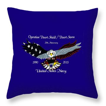 Us Navy Desert Storm Throw Pillow by Bill Richards