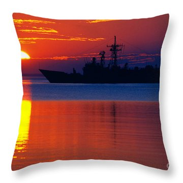 Us Navy Destroyer At Sunrise Throw Pillow by Thomas R Fletcher