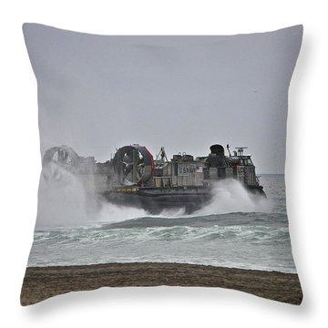 Us Navy Hovercraft Throw Pillow