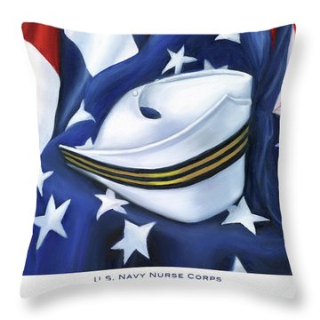 U.s. Navy Nurse Corps Throw Pillow by Marlyn Boyd