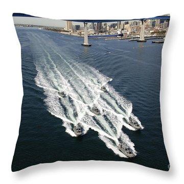 U.s. Navy Patrol Boats Conduct Throw Pillow
