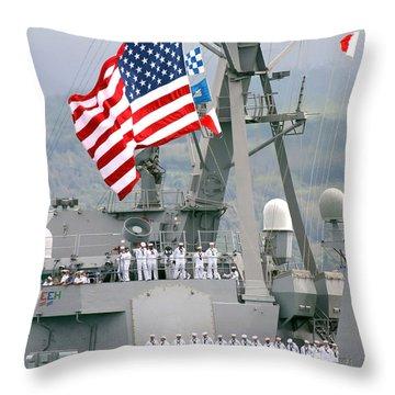 U.s. Navy Sailors Line The Rails Aboard Throw Pillow