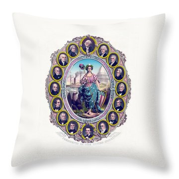 Us Presidents And Lady Liberty  Throw Pillow by War Is Hell Store