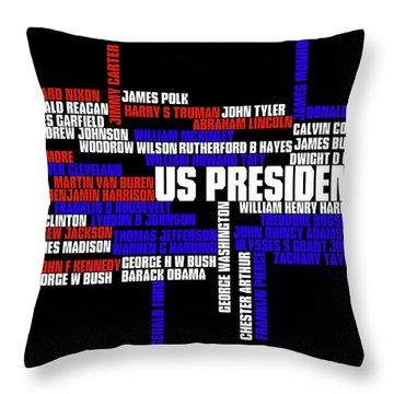 Us Presidents Typography Throw Pillow